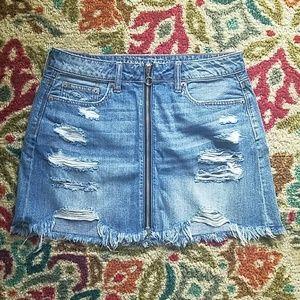 Denim O-ring Zip Skirt